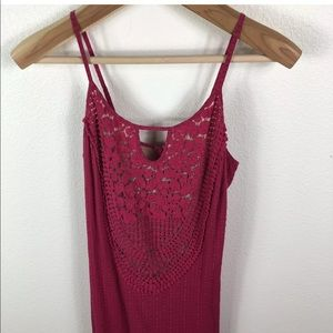 Tracy Reese Pink Crochet Strappy Spaghetti Dress